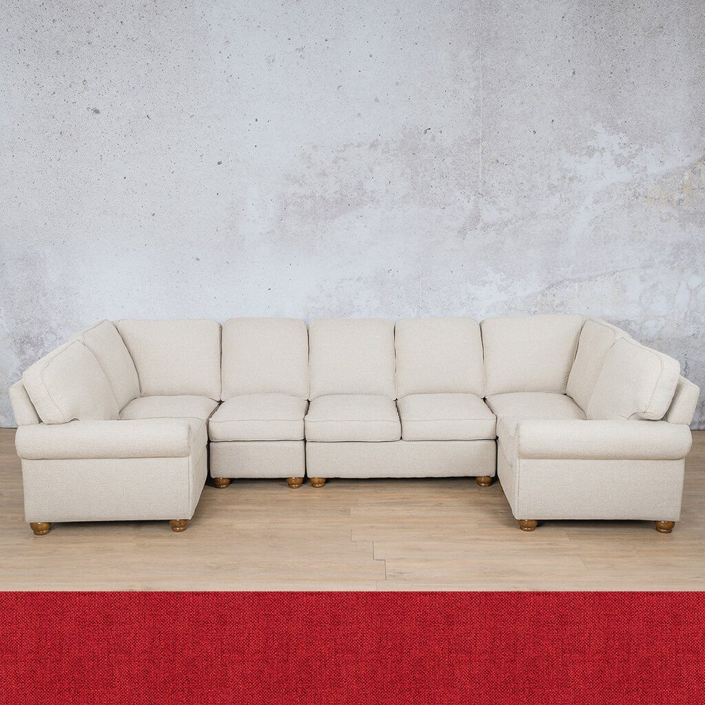 Salisbury Fabric Corner Couch | Modular U-Sofa Sectional | Delicious Cherry | Couches For Sale | Leather Gallery Couches