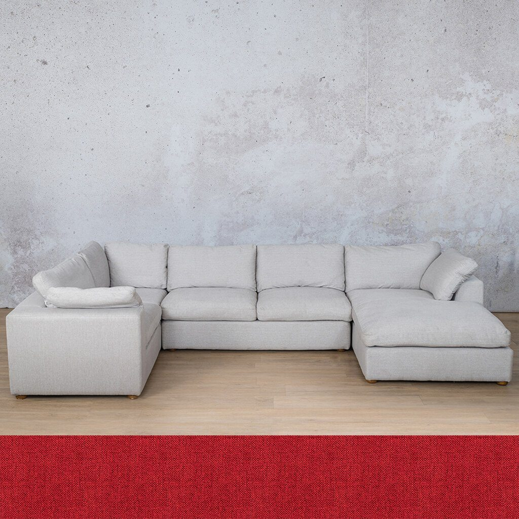 Skye Fabric Corner Couch | U-Sofa Chaise Sectional-RHF | Delicious Cherry | Couches For Sale | Leather Gallery Couches