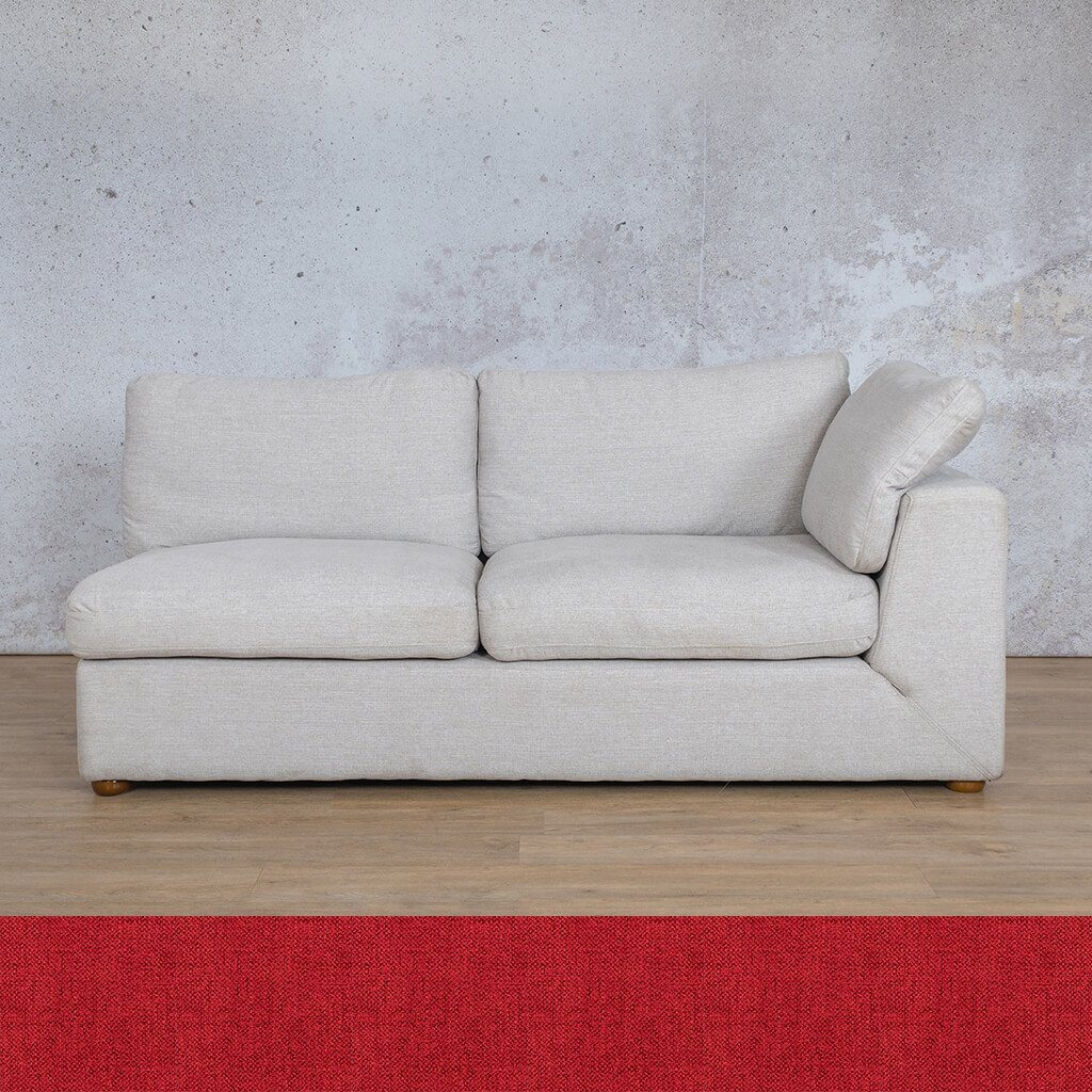 Skye Fabric Corner Couch | 2 Seater Left Arm Couch | Delicious Cherry | Couches For Sale | Leather Gallery Couches
