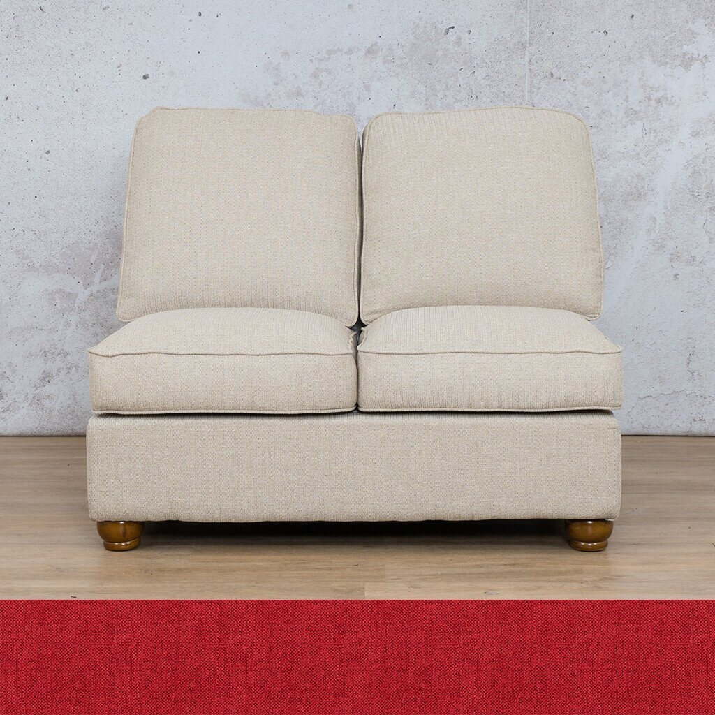 Salisbury Fabric Corner Couch | Armless Chair | 2 Seater Coach | Delicious Cherry | Couches For Sale | Leather Gallery Couches