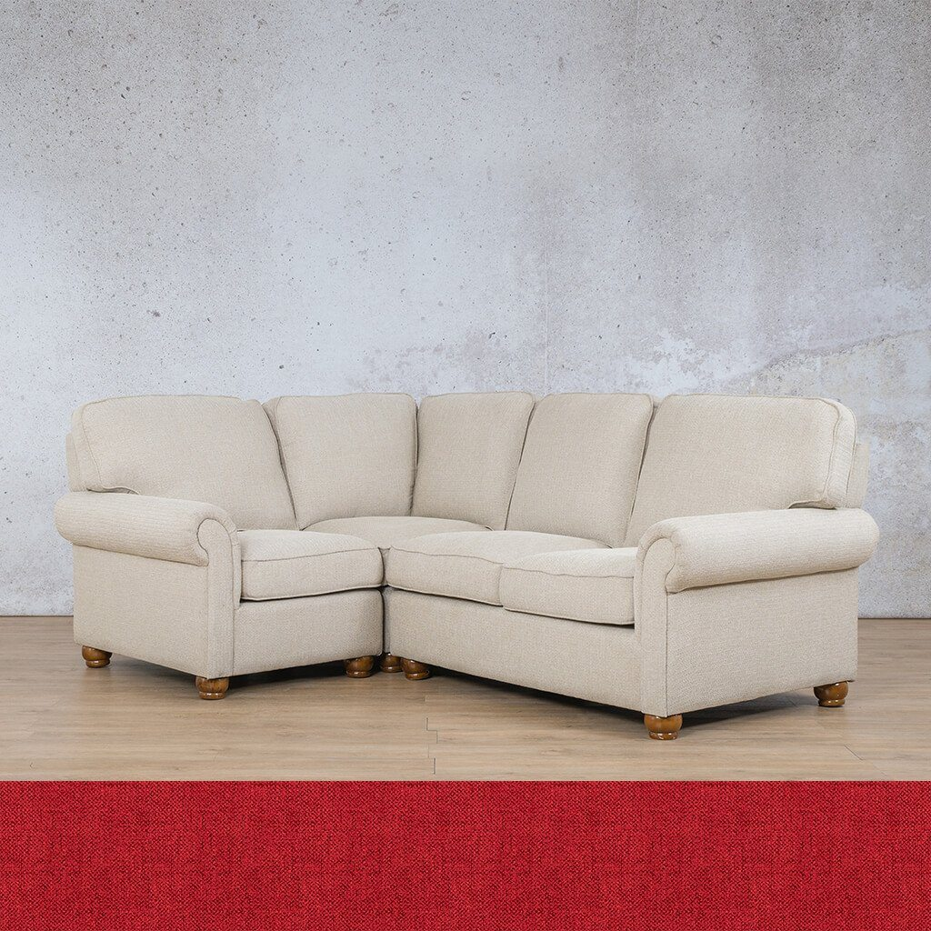Salisbury Fabric Corner Couch | L-Sectional 4 Seater-LHF | Delicious Cherry | Couches For Sale | Leather Gallery Couches