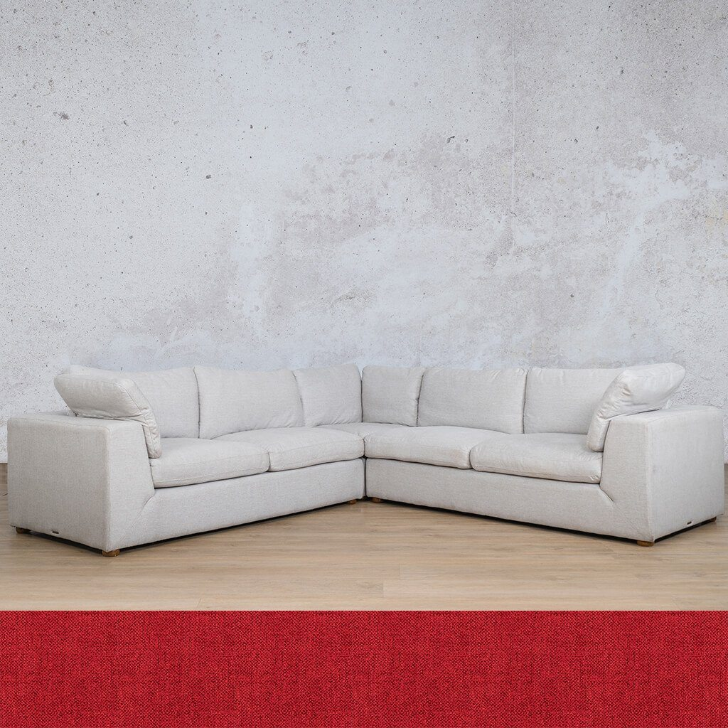 Skye Fabric Corner Couch | L-Sectional 5 Seater | Delicious Cherry | Couches For Sale | Leather Gallery Couches