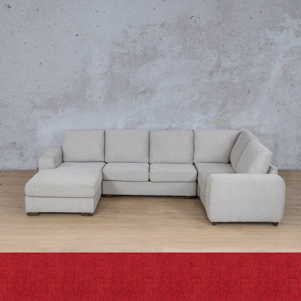 Stanford Fabric Corner Couch | U-Sofa Chaise-RHF | Delicious Cherry | Couches For Sale | Leather Gallery Couches