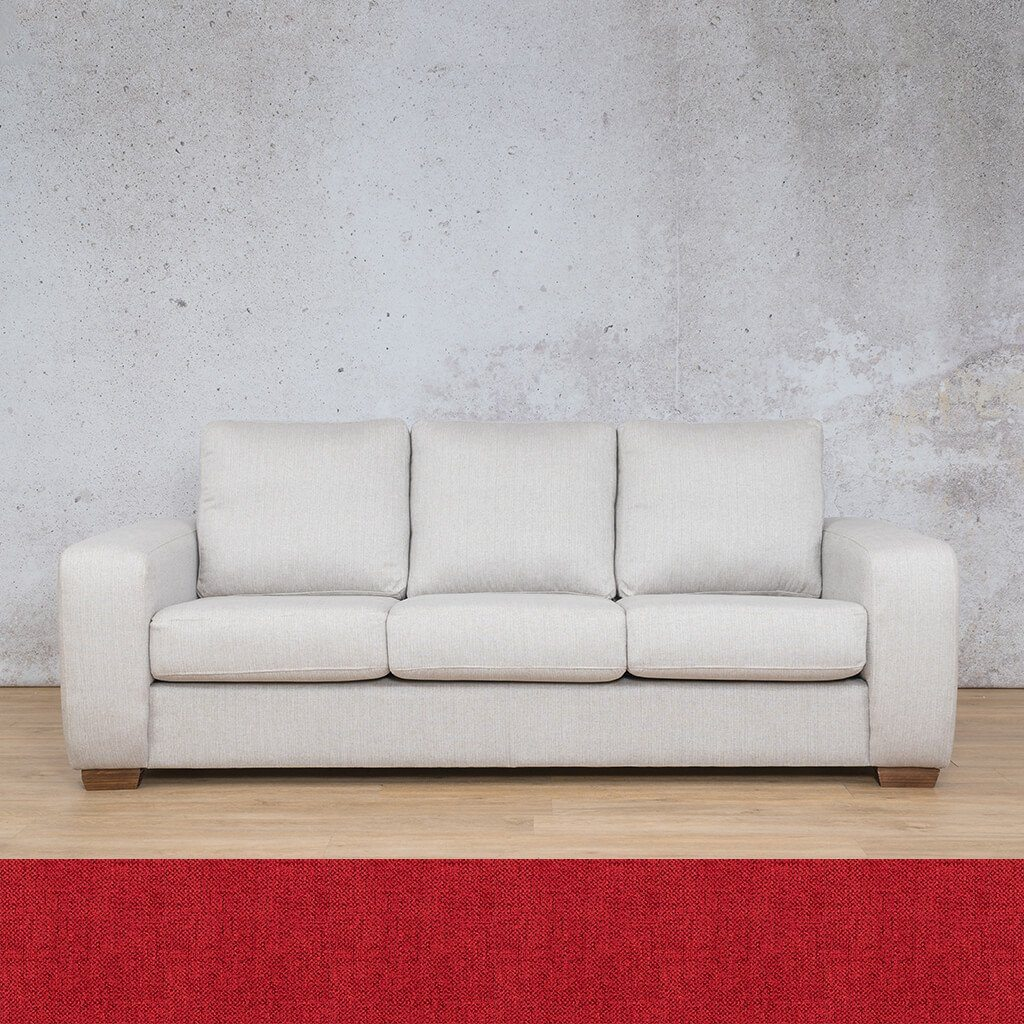 Stanford Fabric | 3 Seater Sleeper Sofa | Delicious Cherry | Leather Gallery