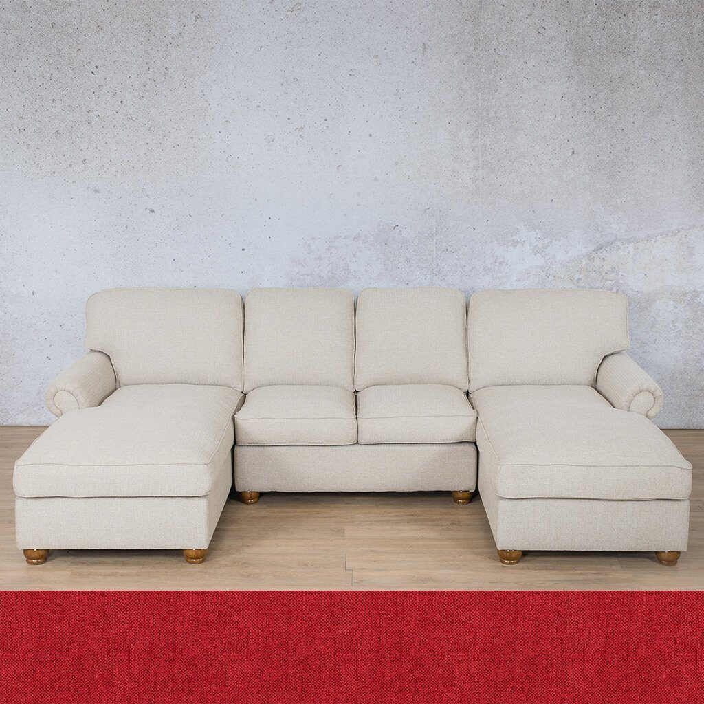 Salisbury Fabric Corner Couch | Customisable Sectional | Delicious Cherry | Couches For Sale | Leather Gallery Couches
