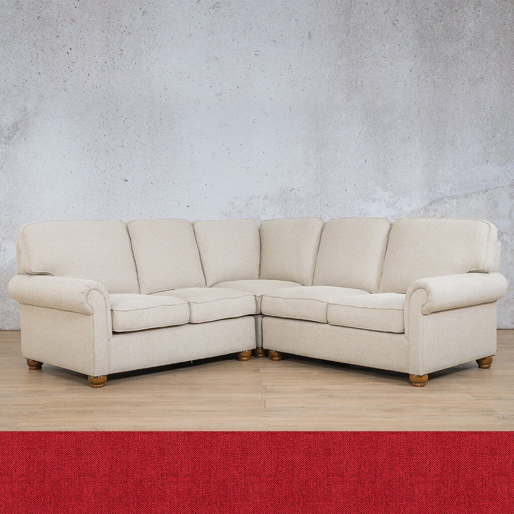 Salisbury Fabric Corner Couch | L-Sectional 5 Seater | Delicious Cherry | Couches For Sale | Leather Gallery Couches