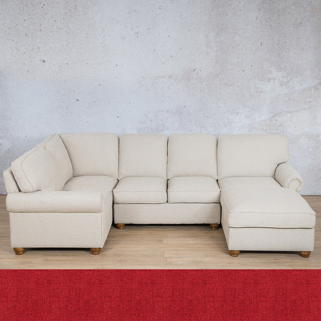 Salisbury Fabric Corner Couch | U-Sofa Chaise Sectional-RHF | Delicious Cherry | Couches For Sale | Leather Gallery Couches