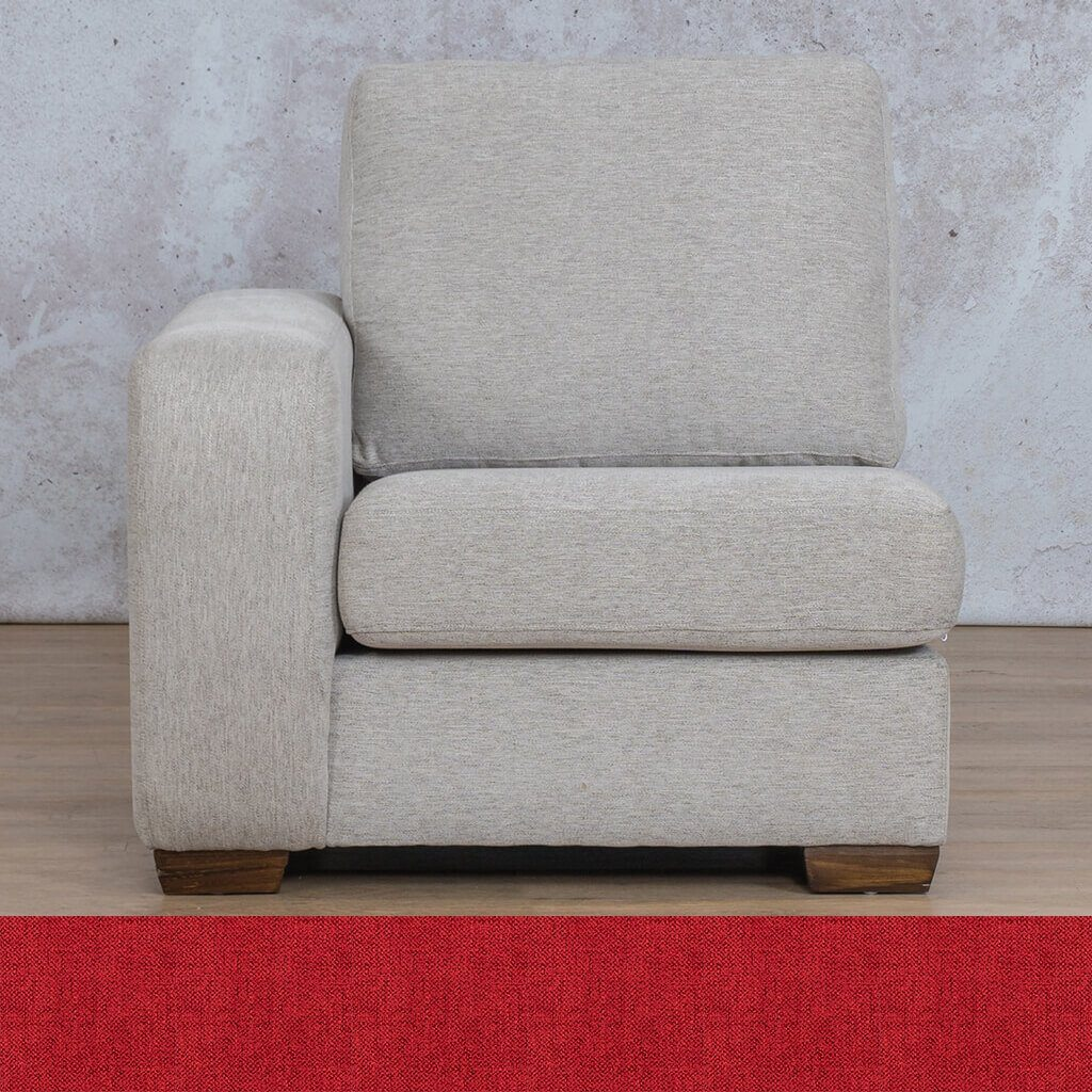 Stanford Fabric Corner Couch | Right Arm 1 Seater Couch | Delicious Cherry | Couches For Sale | Leather Gallery Couches