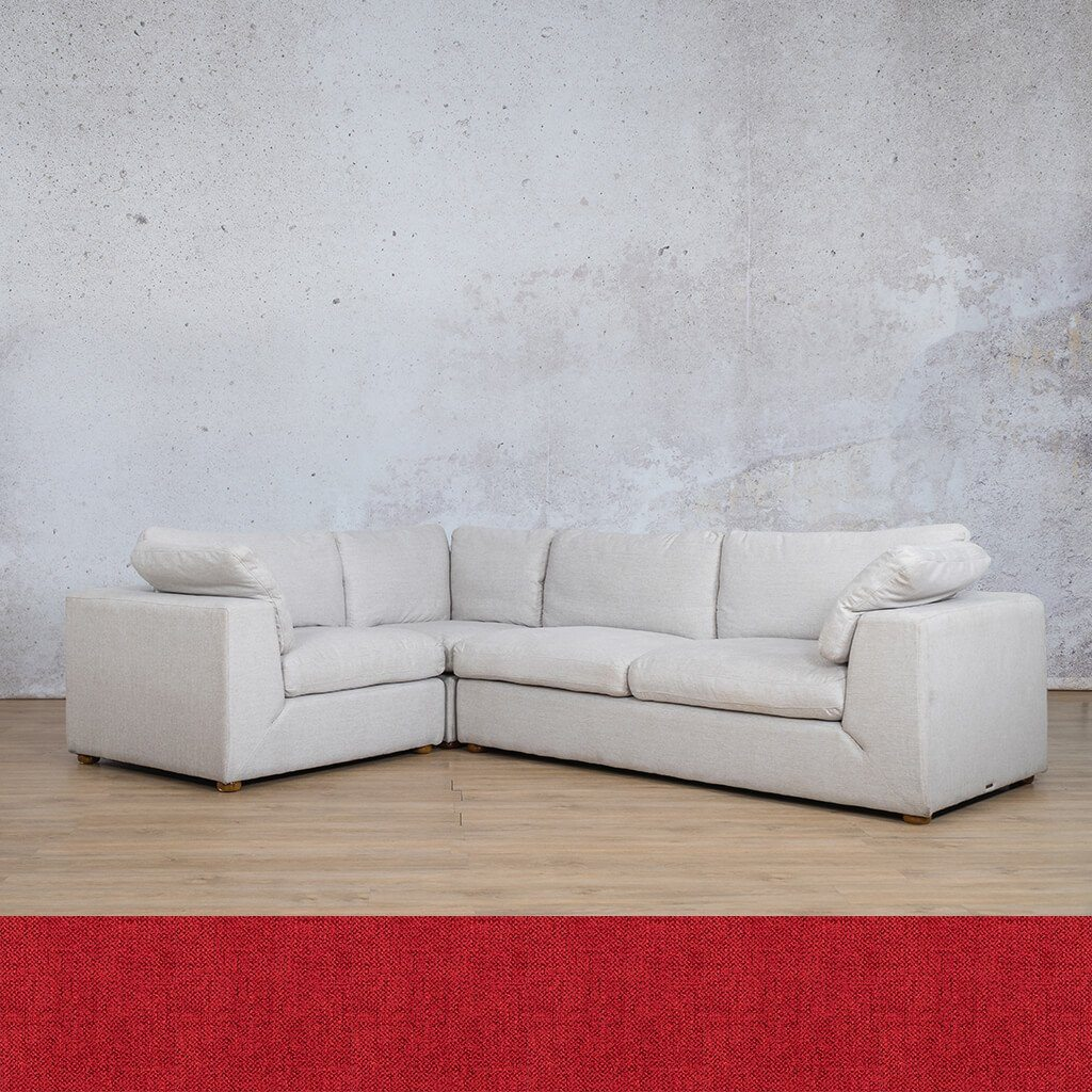 Skye Fabric Corner Couch | L-Sectional 4 Seater-LHF | Delicious Cherry | Couches For Sale | Leather Gallery Couches