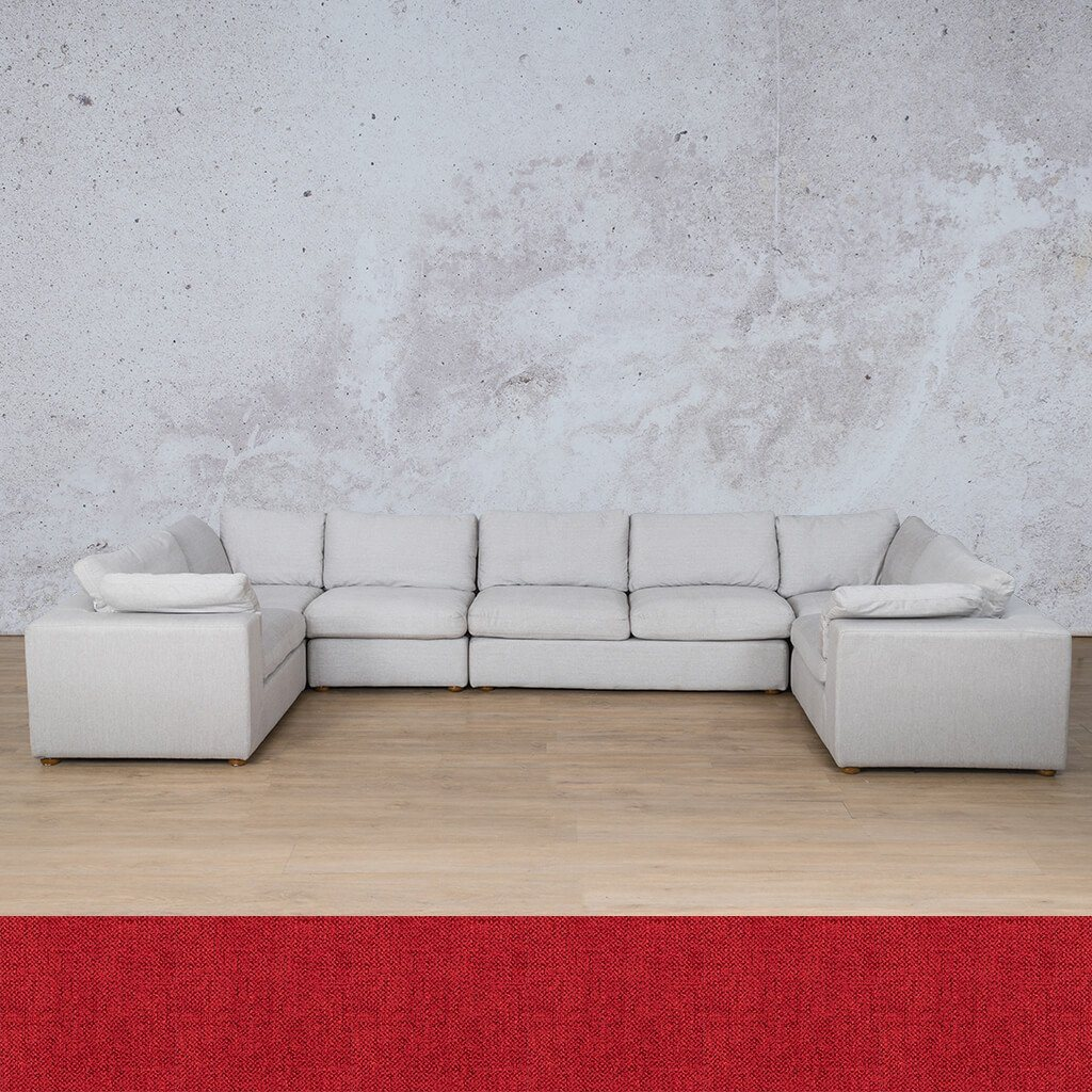 Skye Fabric Corner Couch | Modular U-Sofa Sectional | Delicious Cherry | Couches For Sale | Leather Gallery Couches