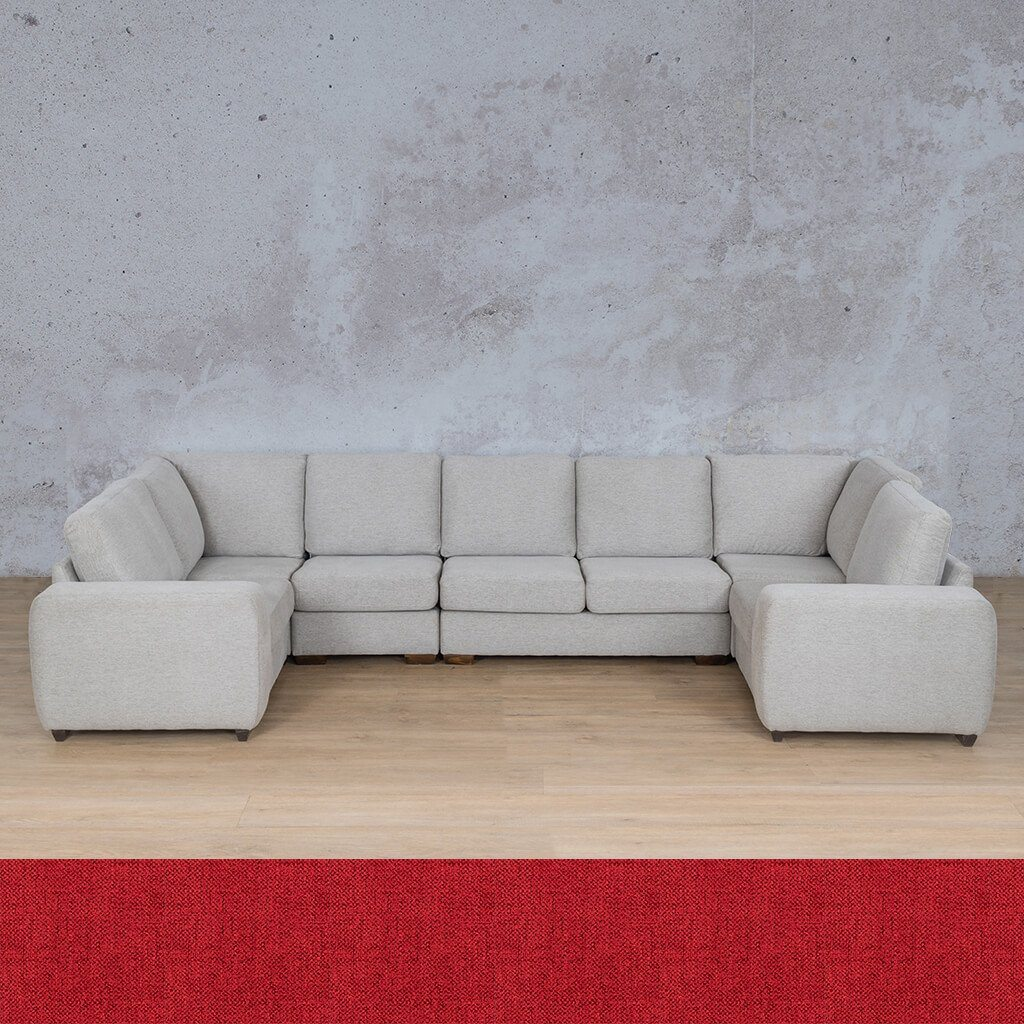 Stanford Fabric Corner Couch | Modular U-Sofa Couch | Delicious Cherry | Couches For Sale | Leather Gallery Couches