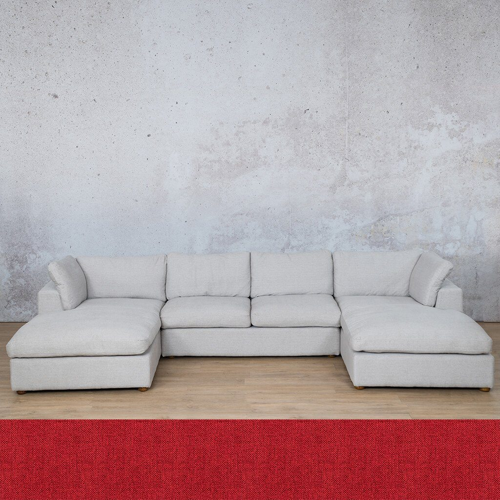 Skye Fabric Corner Couch | U-Sofa Sectional | Delicious Cherry | Couches For Sale | Leather Gallery Couches