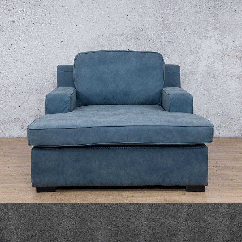 Arizona Leather Couch | Chaise 2 Arm | Diesel Denim | Leather Gallery
