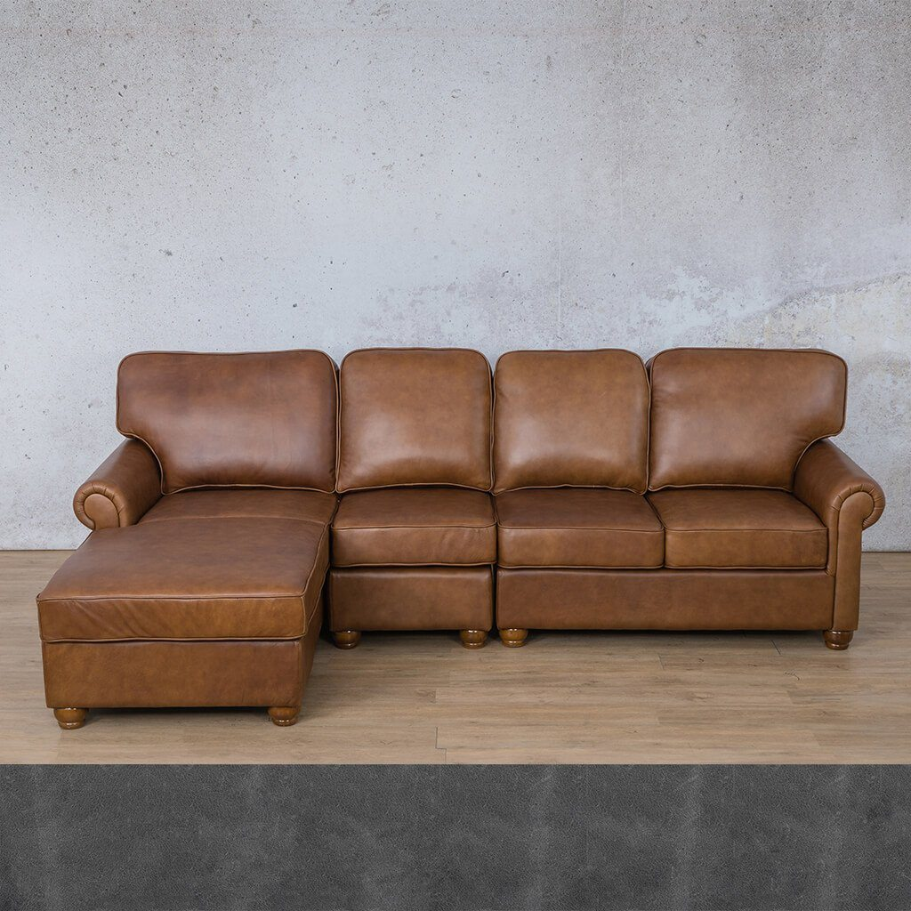 Salisbury Leather Sofa Chaise Modular Sectional - LHF