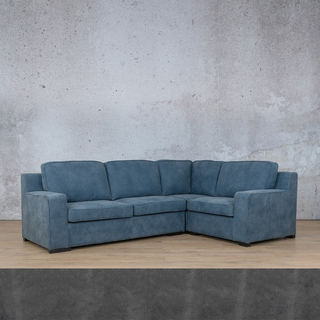 Arizona Leather Couch | L-Sectional 4 Seater RHF | Diesel Denim | Leather Gallery