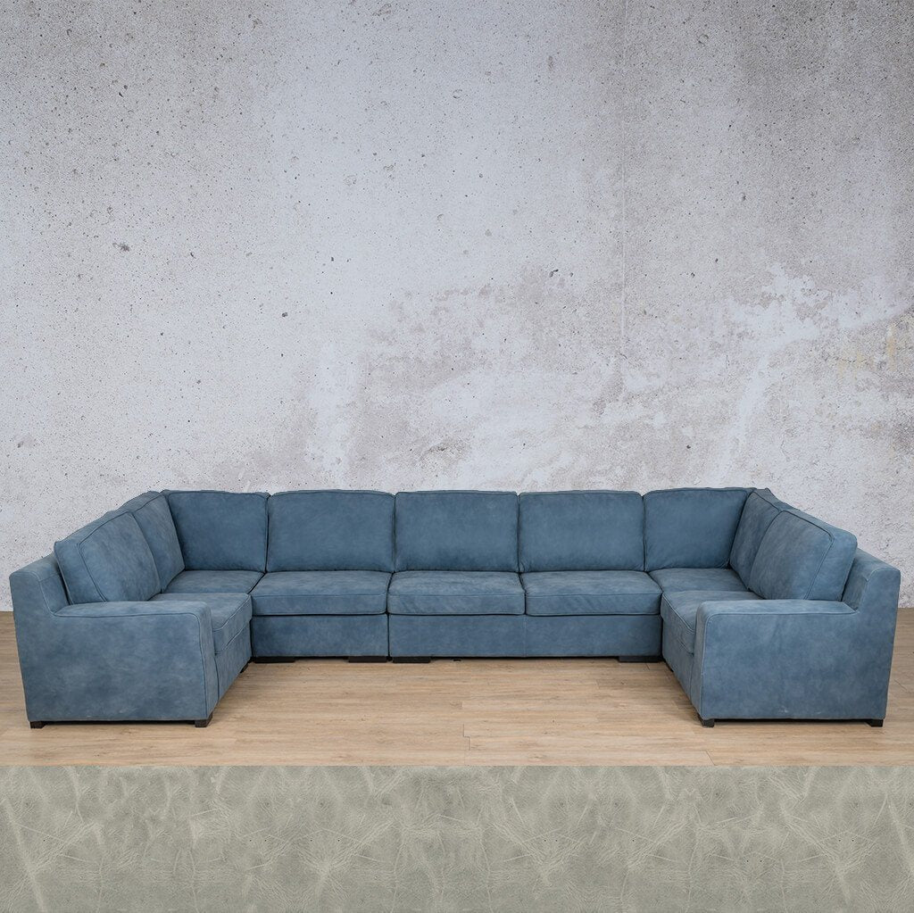Arizona Leather Couch | Modular U-Sofa | Diesel Grey | Leather Gallery