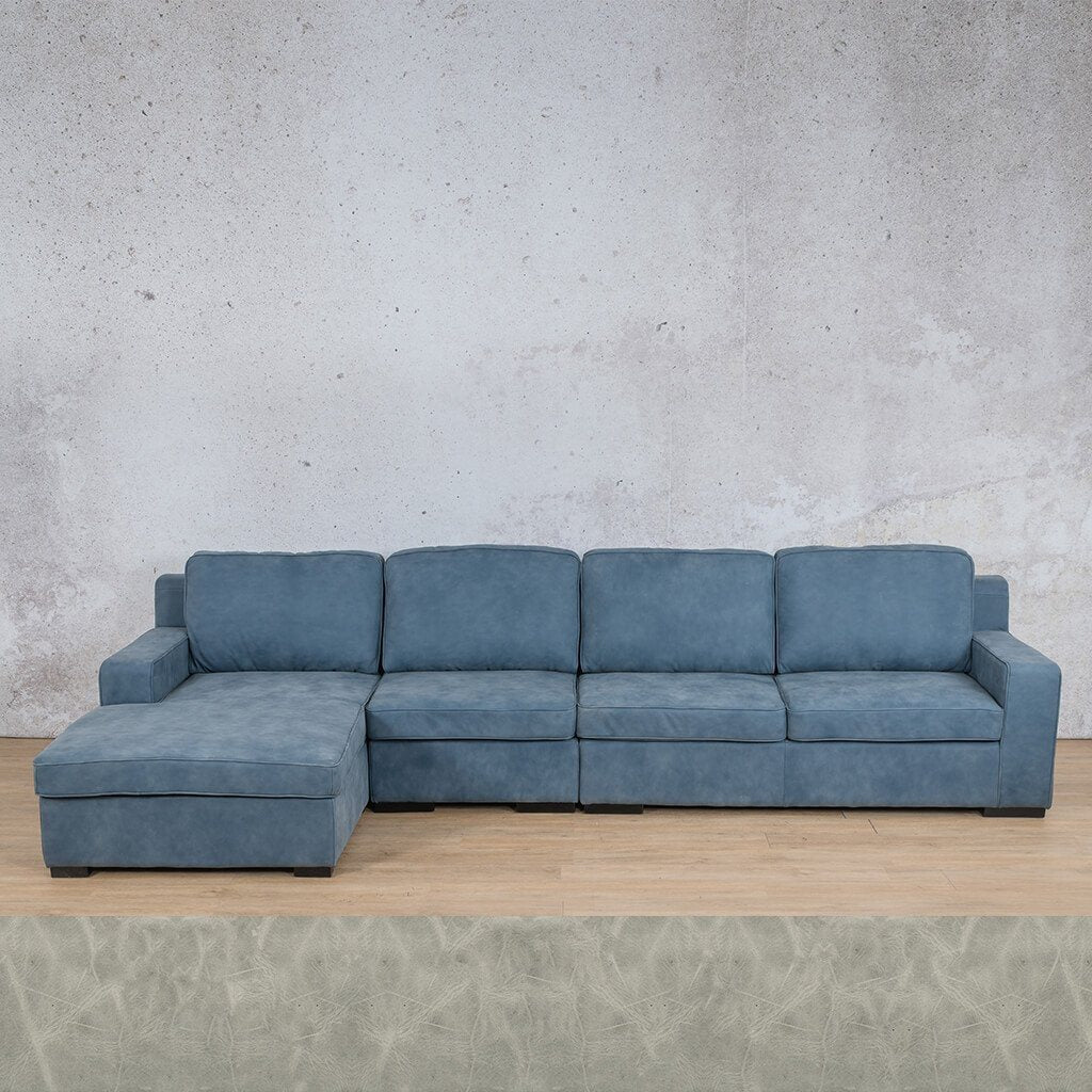 Arizona Leather Sofa Chaise Modular Sectional - LHF