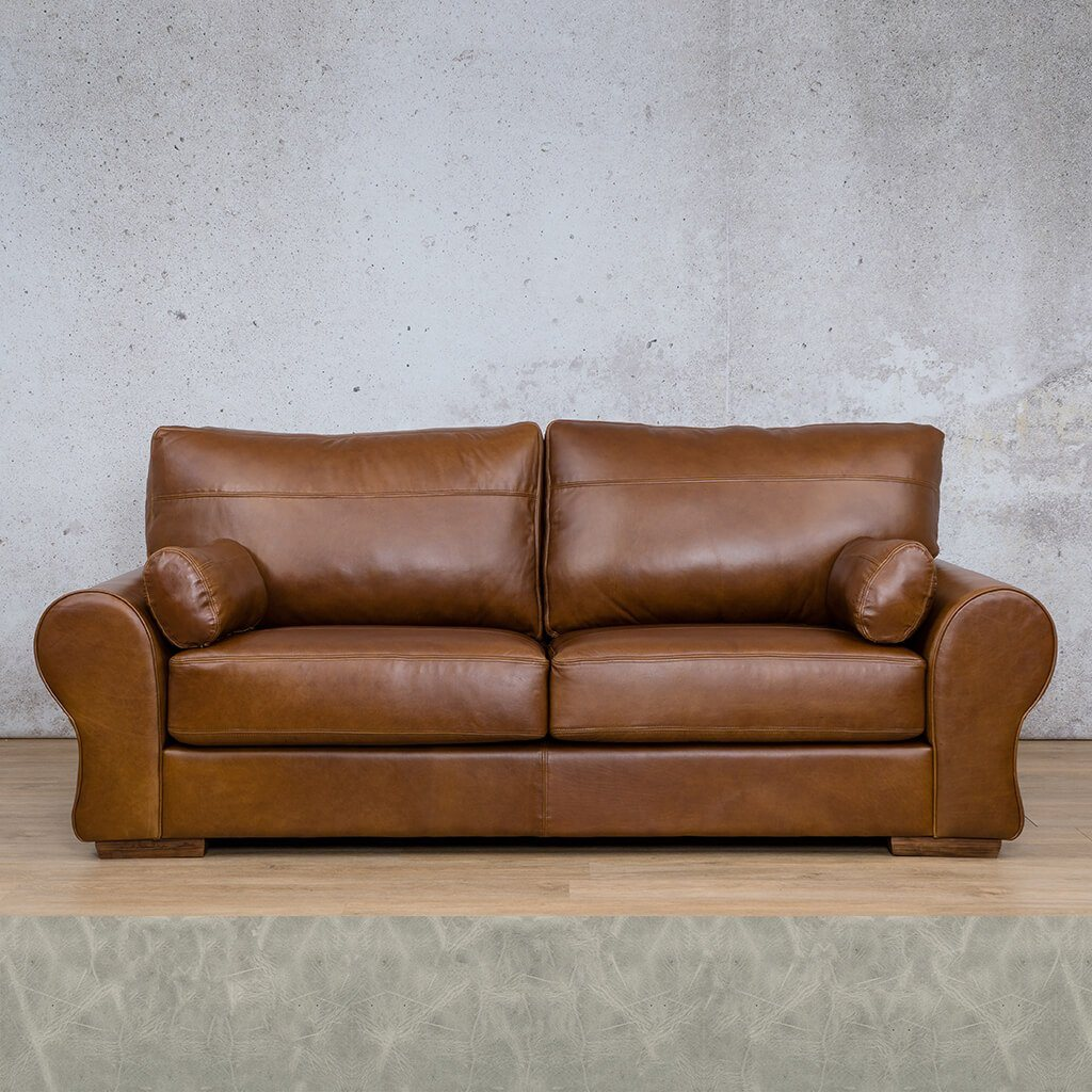 Carolina Leather Couch | 3 Seater | Diesel Grey | Leather Gallery