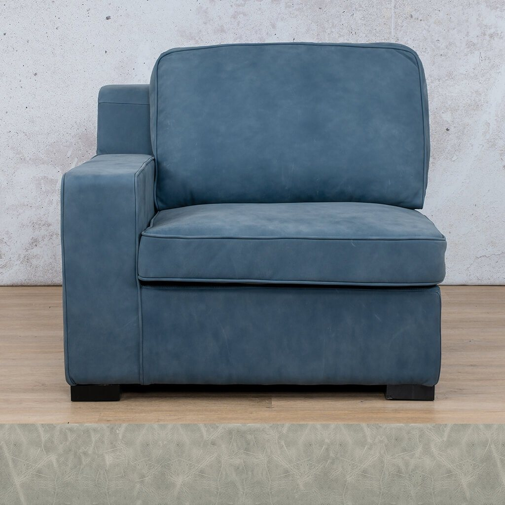 Arizona Leather Couch | 1 Seater Right Arm | Diesel Grey | Leather Gallery