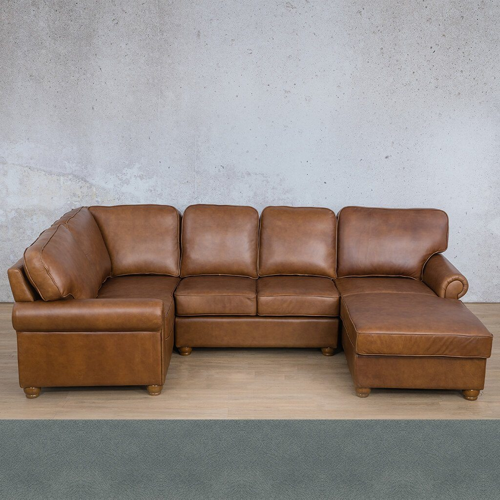 Salisbury Leather Corner Couch | U-Sofa Chaise Sectional RHF | Flux Blue | Couches For Sale | Leather Gallery Couches