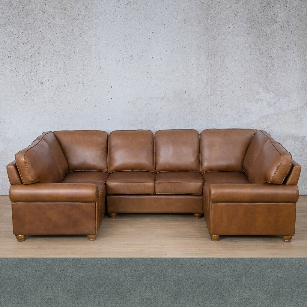 Salisbury Leather Corner Couch | U-Sofa Sectional | Flux Blue | Couches For Sale | Leather Gallery Couches