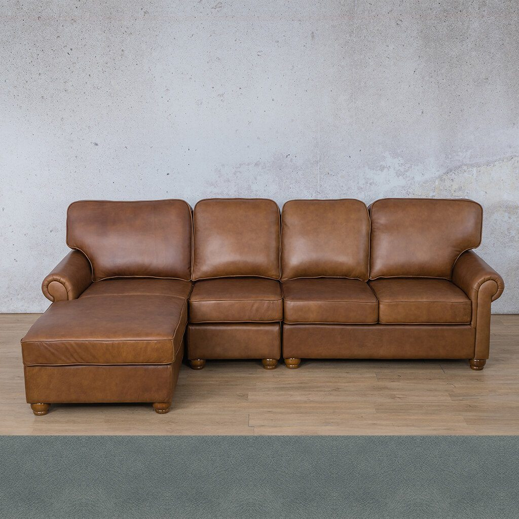 Salisbury Leather Corner Couch | Chaise Modular Sectional-LHF | Flux Blue | Couches For Sale | Leather Gallery Couches