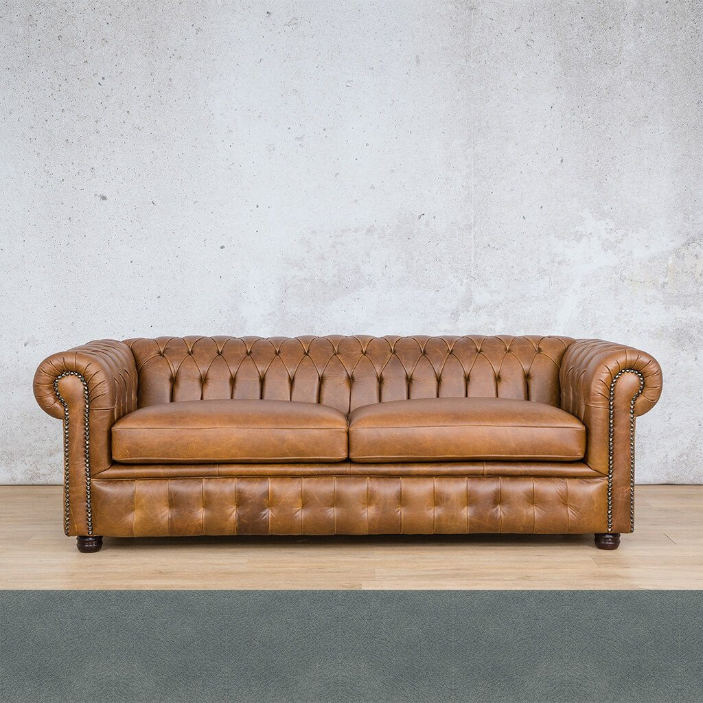 Chesterfield Leather Couch | 3 Seater | Flux Blue | Leather Gallery