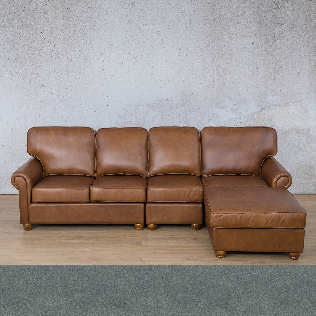 Salisbury Leather Corner Couch | Chaise Modular Sectional-RHF | Flux Blue | Couches For Sale | Leather Gallery Couches