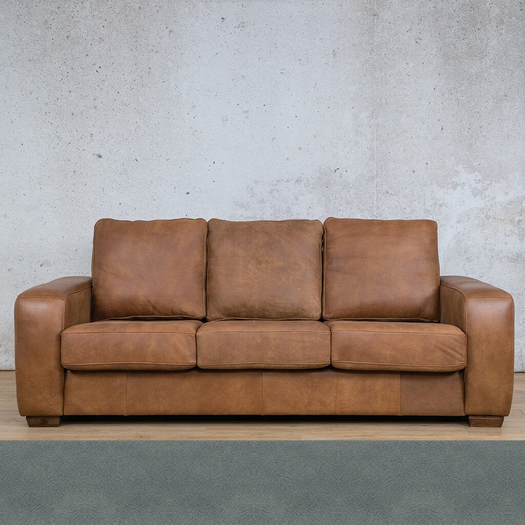 Stanford Leather Couch | 3 Seater Couch | Couches for Sale | Flux Blue | Leather Gallery Couches