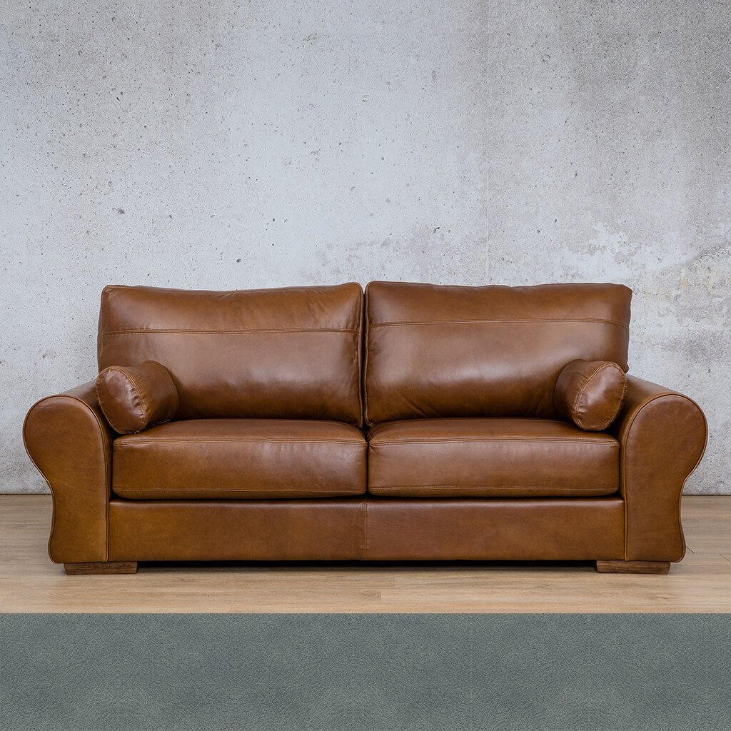 Carolina Leather Couch | 3 Seater Couch | Couches for Sale | Flux Blue | Leather Gallery Couches