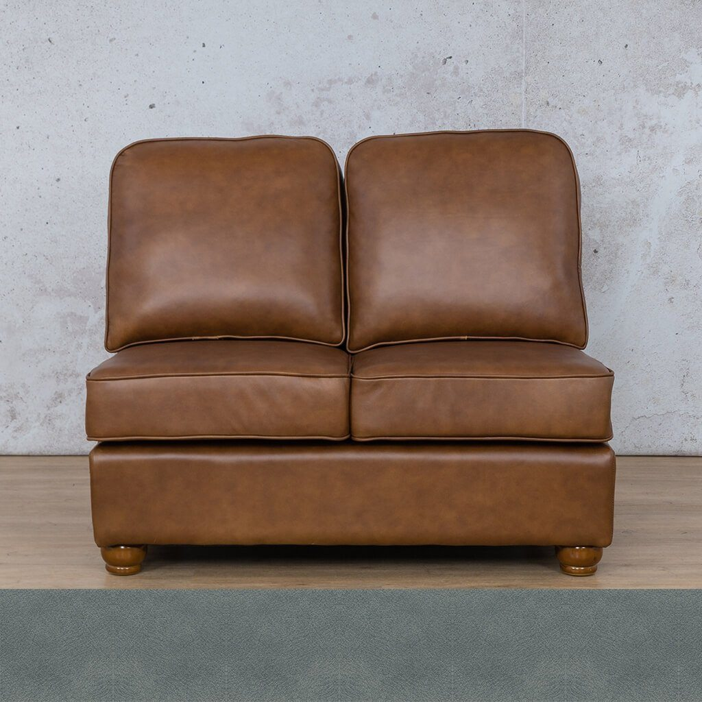 Salisbury Leather Corner Couch | Armless 2 Seater | Flux Blue | Couches For Sale | Leather Gallery Couches