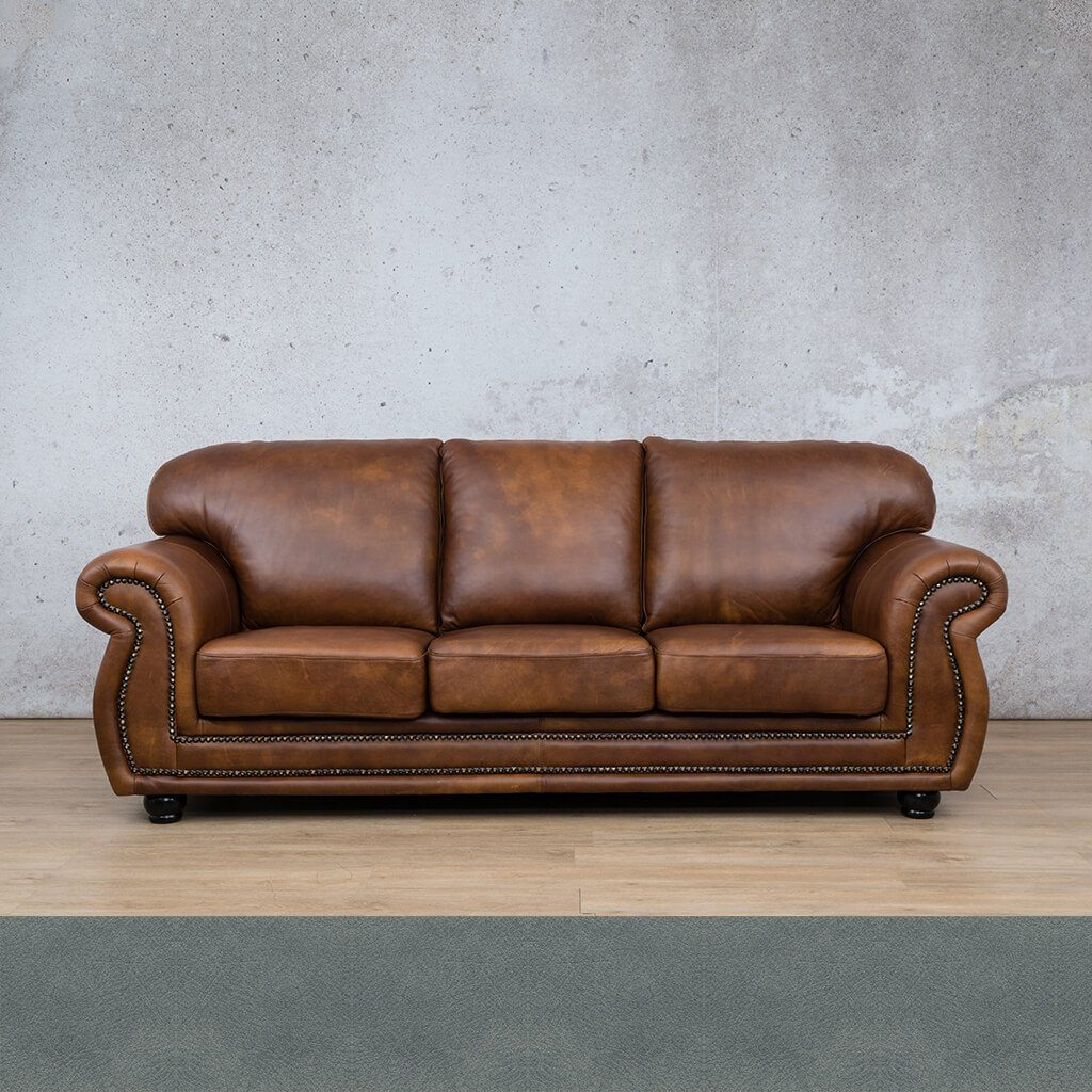 Isilo Leather Couch | 3 Seater Couch | Couches for Sale | Flux Blue | Leather Gallery Couches