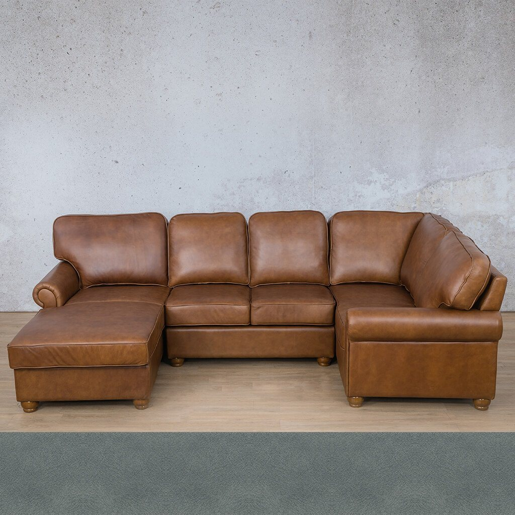 Salisbury Leather Corner Couch | U-Sofa Chaise Sectional LHF | Flux Blue | Couches For Sale | Leather Gallery Couches
