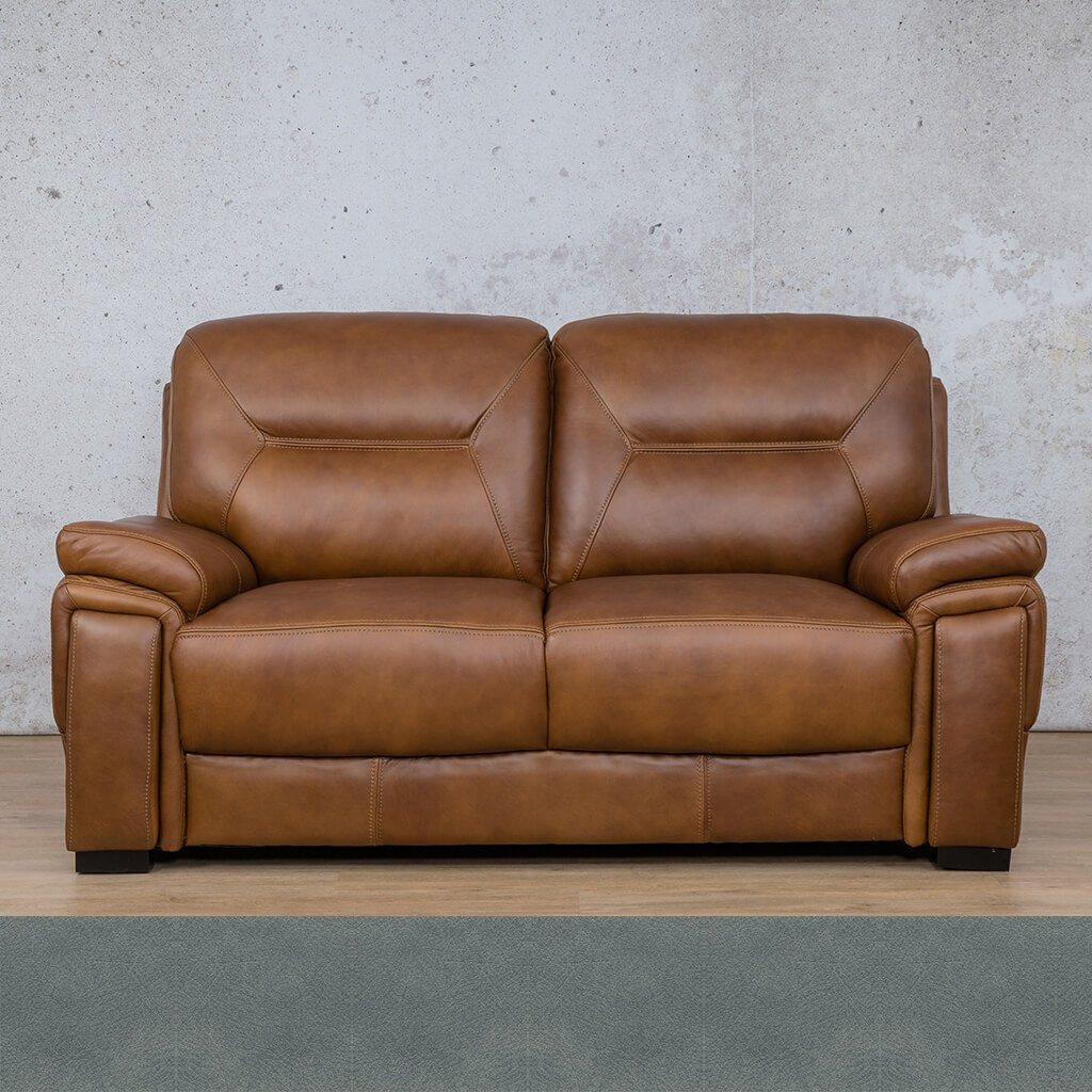 San Lorenze Leather Couch | 2 Seater Couch | Couches for Sale | Flux Blue | Leather Gallery Couches