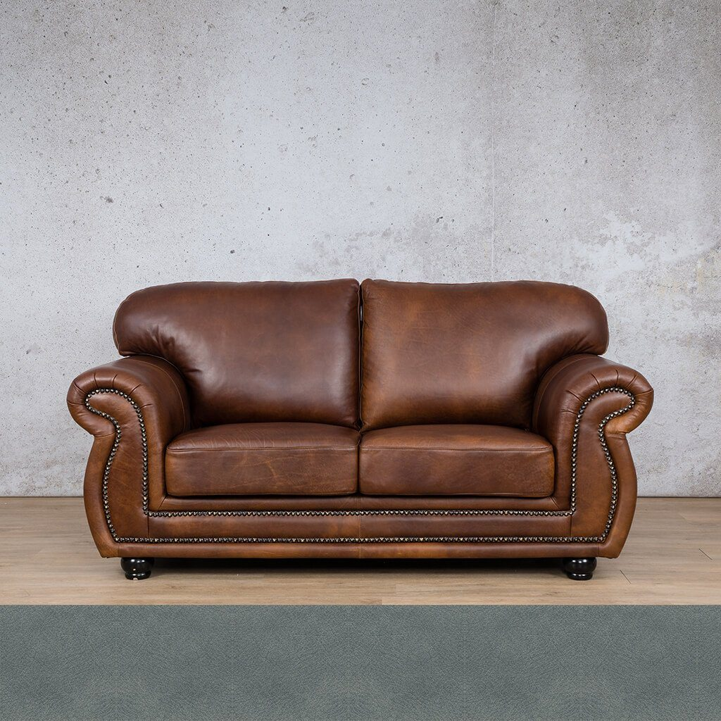Isilo Leather Couch | 2 Seater Couch | Couches for Sale | Flux Blue | Leather Gallery Couches