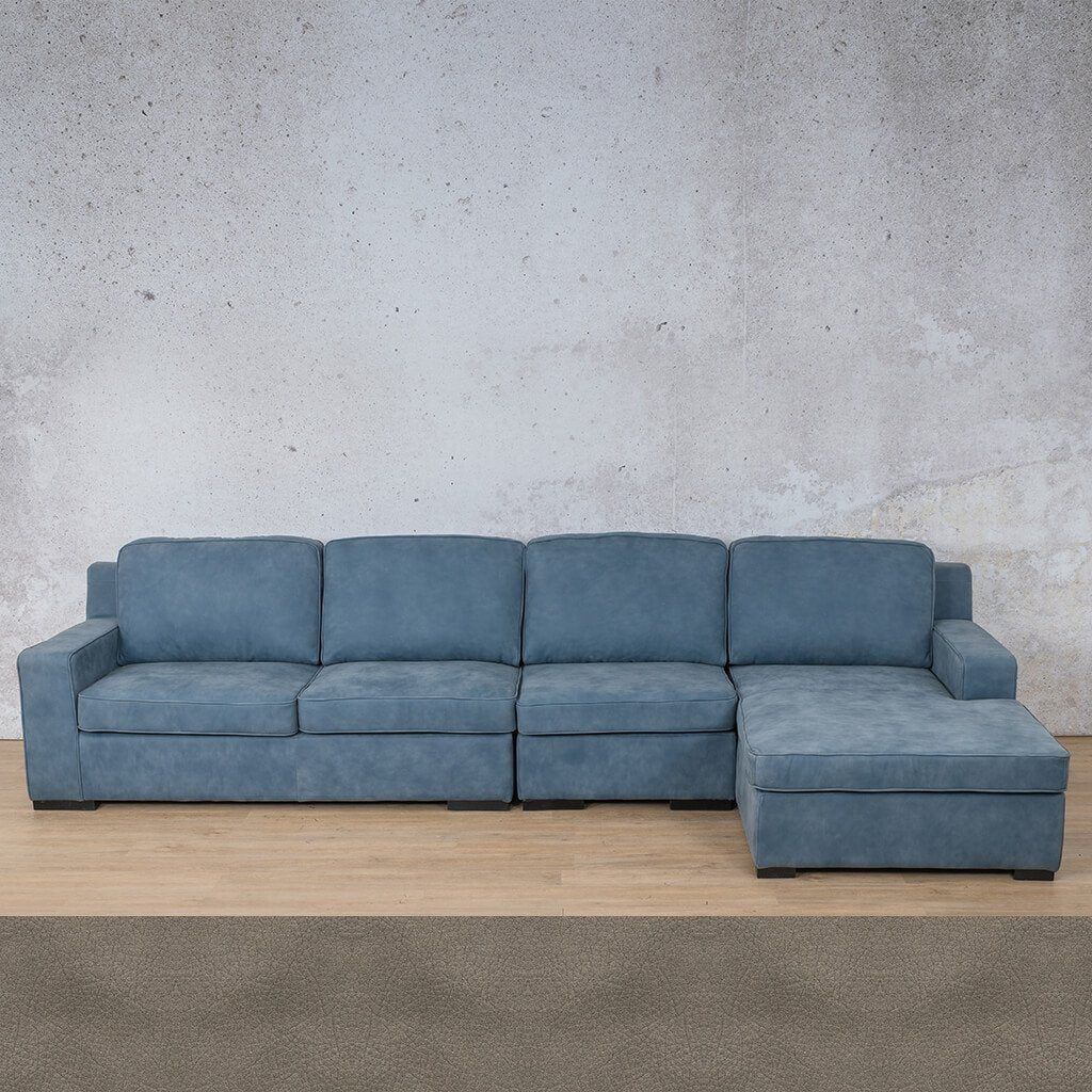 Arizona Leather Couch | Modular Sofa Chaise RHF | Flux Grey | Leather Gallery