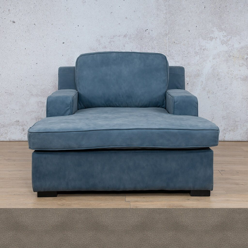 Arizona Leather Couch | Chaise 2 Arm | Flux Grey | Leather Gallery