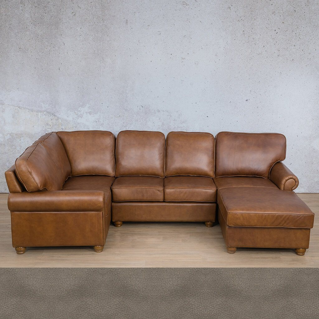 Salisbury Leather Corner Couch | U-Sofa Chaise Sectional RHF | Flux Grey | Couches For Sale | Leather Gallery Couches