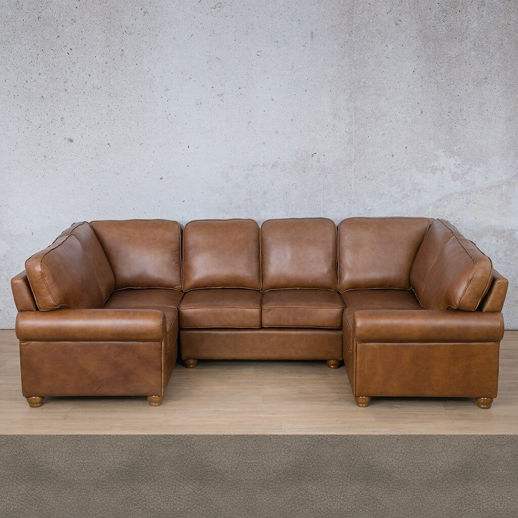 Salisbury Leather Corner Couch | U-Sofa Sectional | Flux Grey | Couches For Sale | Leather Gallery Couches