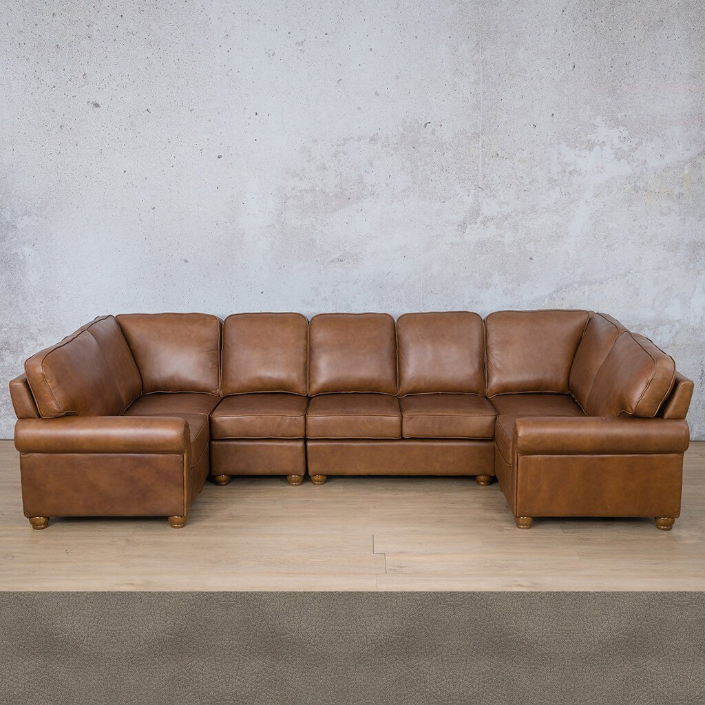 Salisbury Leather Corner Couch | Modular U-Sofa Sectional | Flux Blue | Couches For Sale | Leather Gallery Couches
