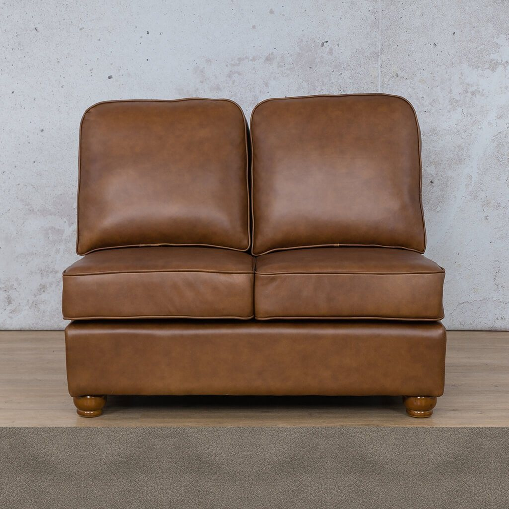 Salisbury Leather Corner Couch | Armless 2 Seater | Flux Grey | Couches For Sale | Leather Gallery Couches