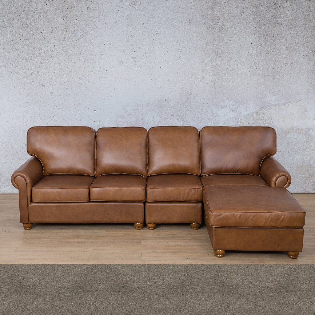 Salisbury Leather Corner Couch | Chaise Modular Sectional-RHF | Flux Grey | Couches For Sale | Leather Gallery Couches