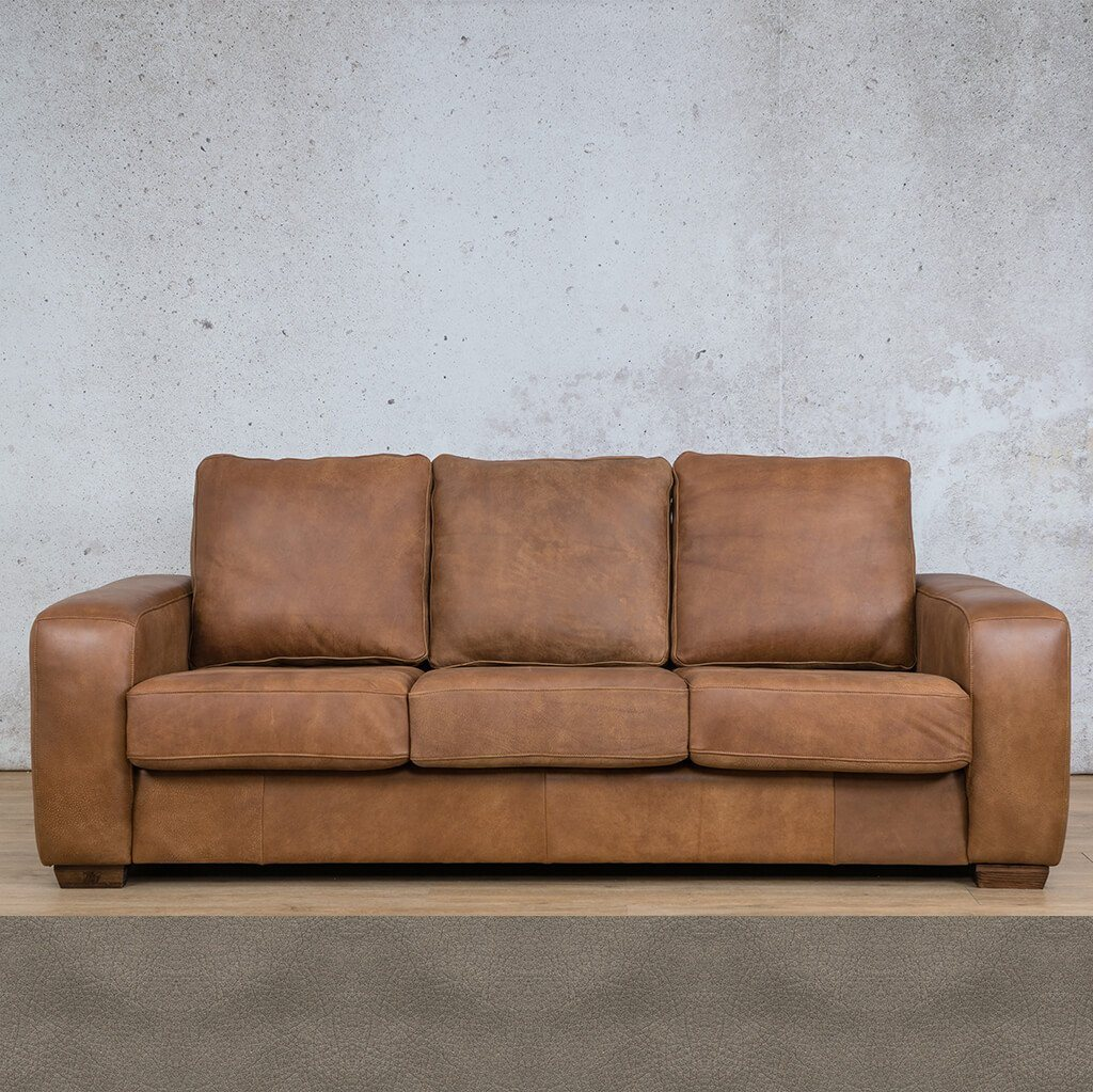 Stanford Leather Couch | 3 Seater Couch | Couches for Sale | Flux Grey | Leather Gallery Couches