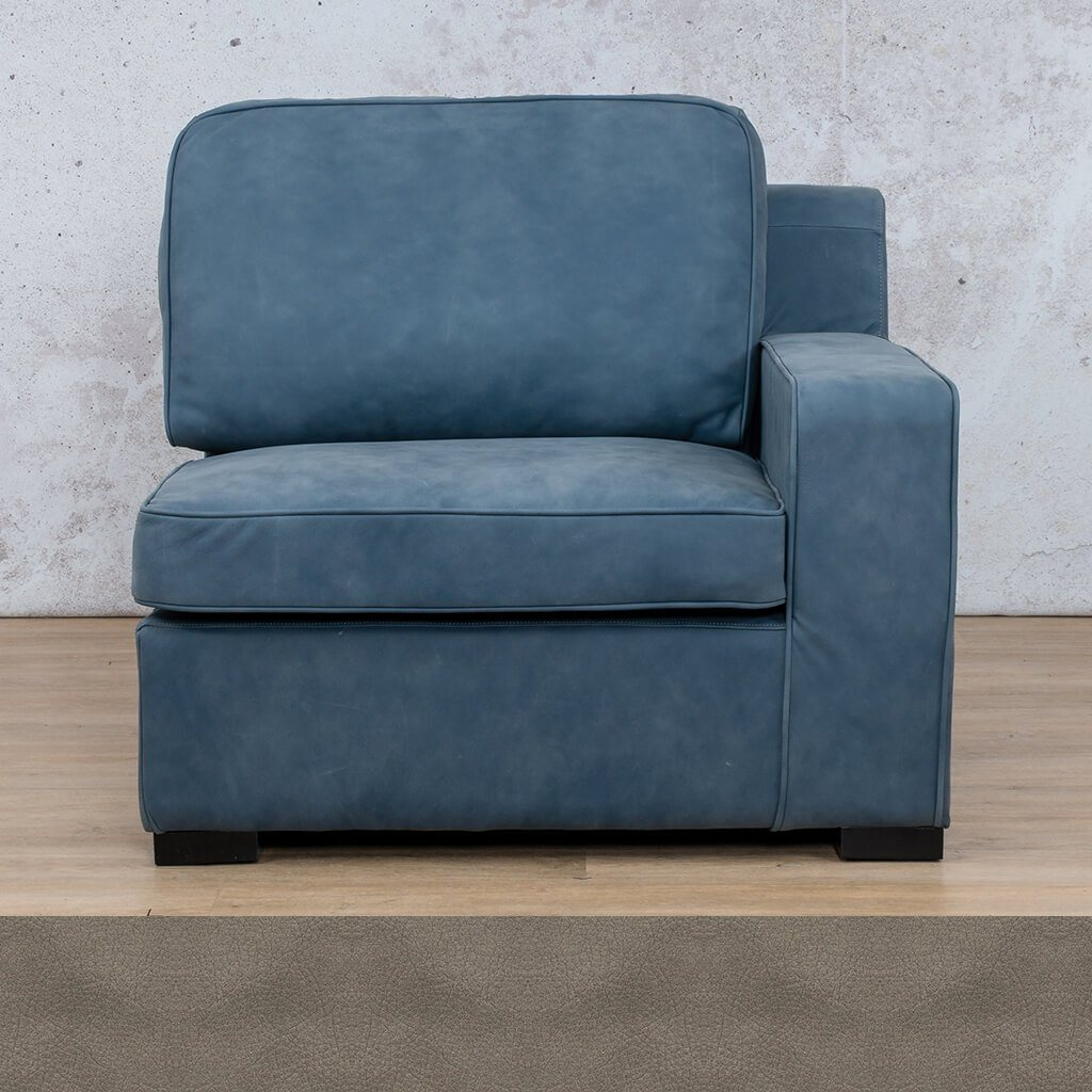 Arizona Leather | 1 Seater Left Arm | Flux Grey | Leather Gallery