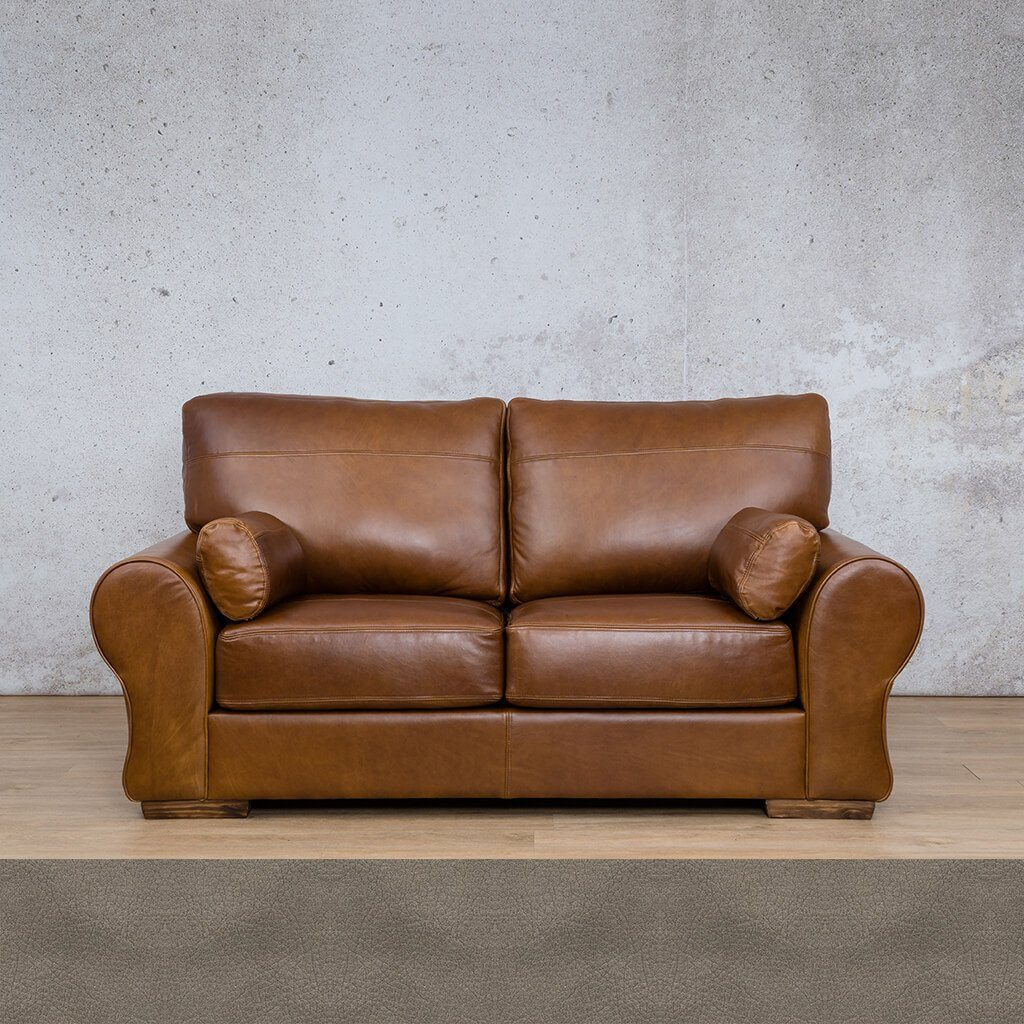 Carolina Leather Couch | 2 Seater Couch | Couches for Sale | Flux Grey | Leather Gallery Couches