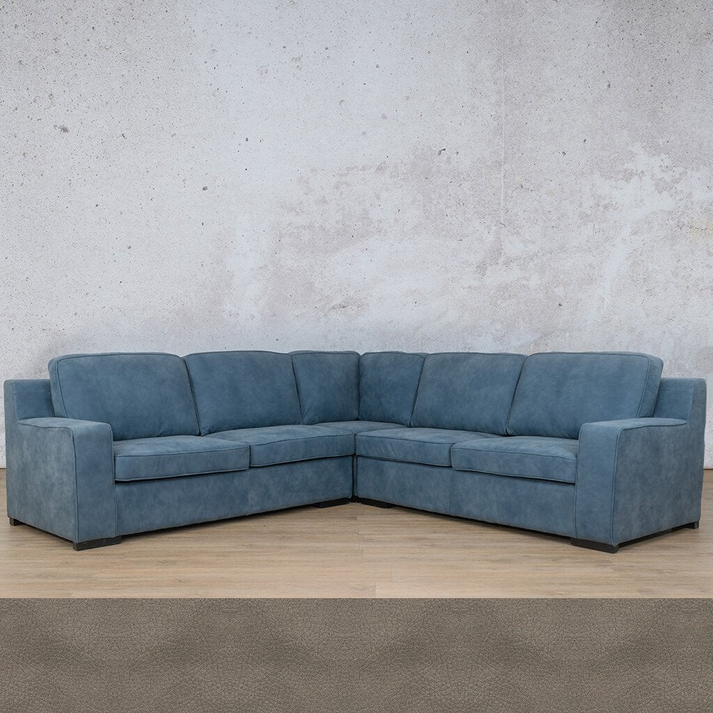 Arizona Leather Couch | L-Sectional 5 Seater | Flux Grey | Leather Gallery