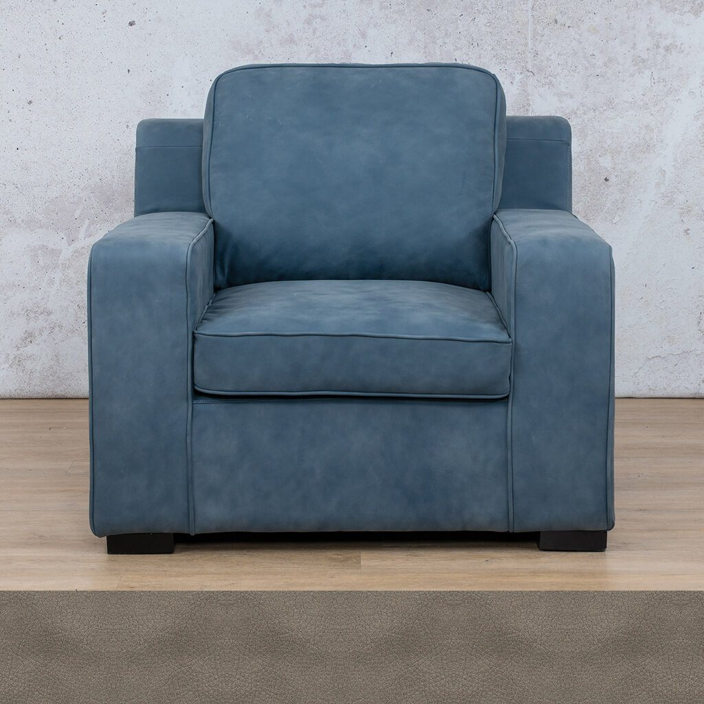 Arizona Leather Couch | 1 Seater | Flux Grey | Leather Gallery