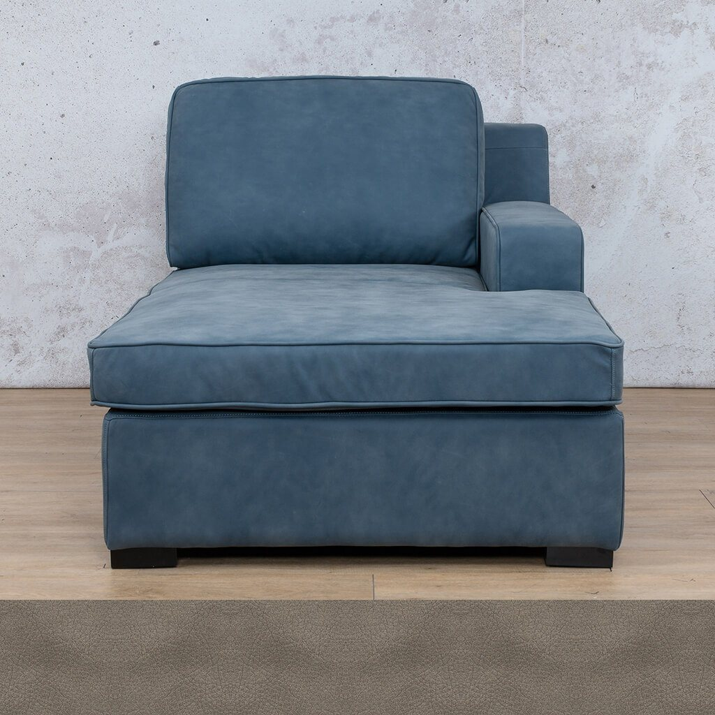 Arizona Leather Couch | Chaise Left Arm | Flux Grey | Leather Gallery