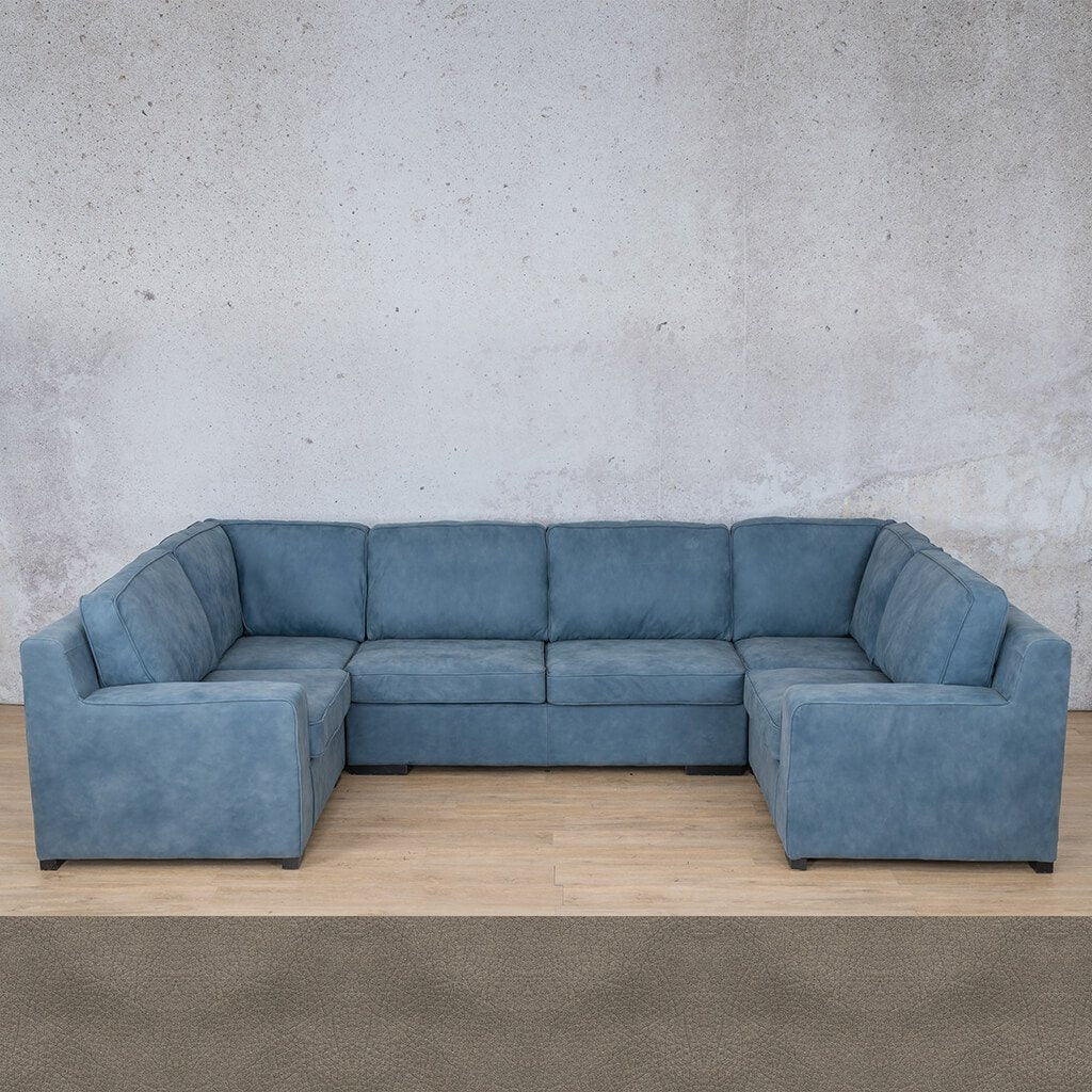 Arizona Leather Corner Couch | U-Sofa Sectional | Flux Grey | Couches For Sale | Leather Gallery Couches