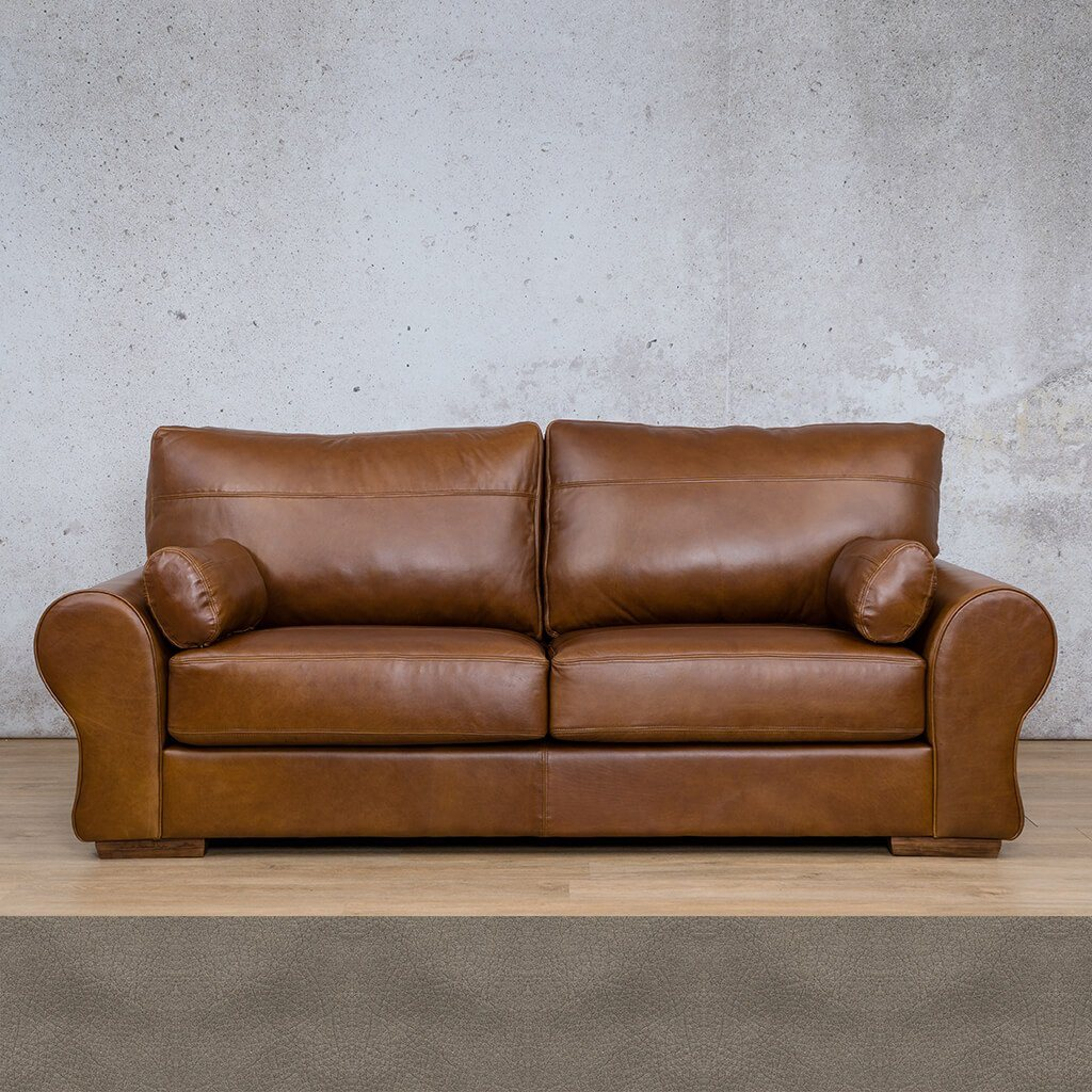 Carolina Leather Couch | 3 Seater Couch | Couches for Sale | Flux Grey | Leather Gallery Couches